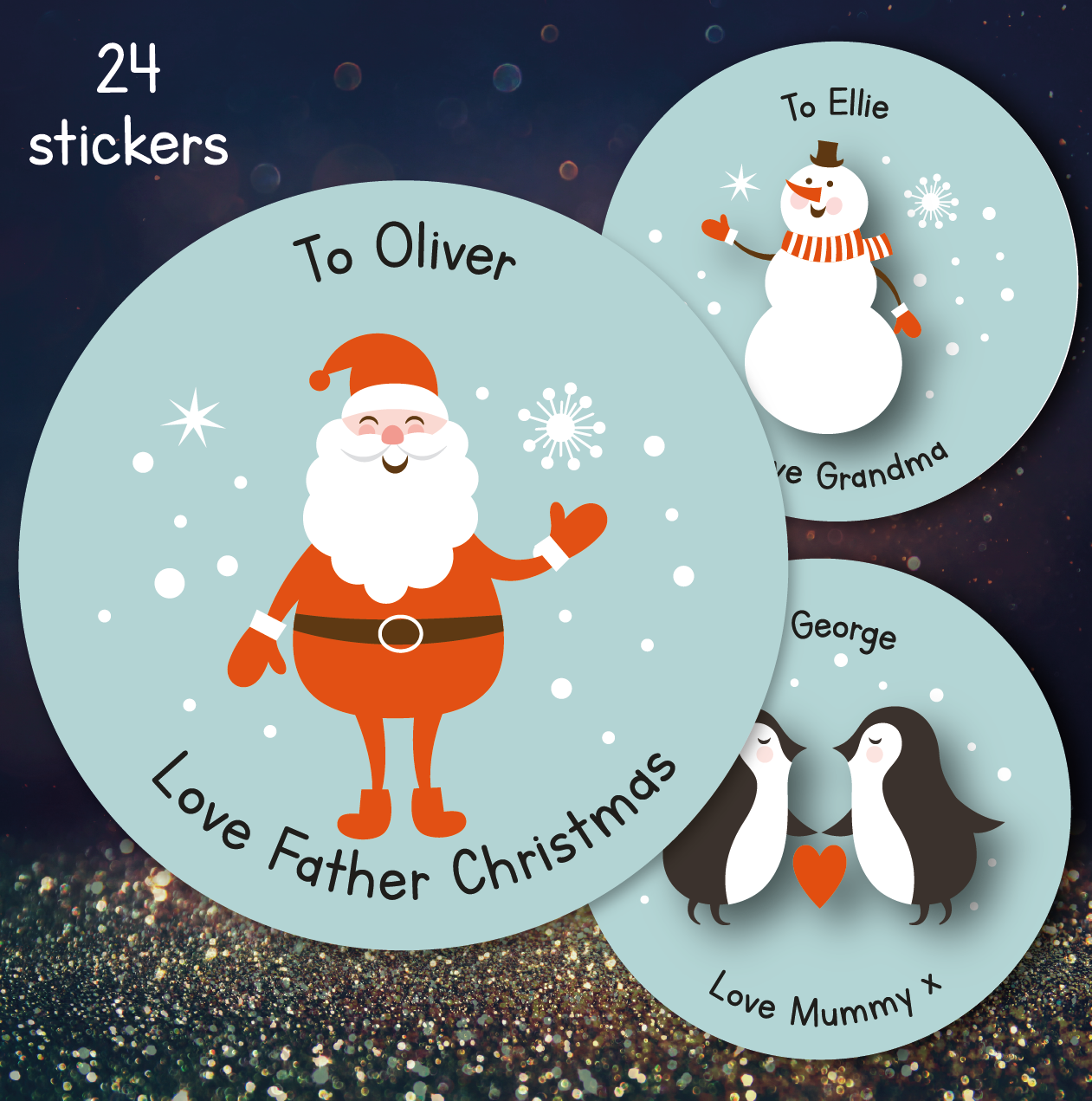 Christmas Stickers.24 Personalised Christmas Stickers Multi Design