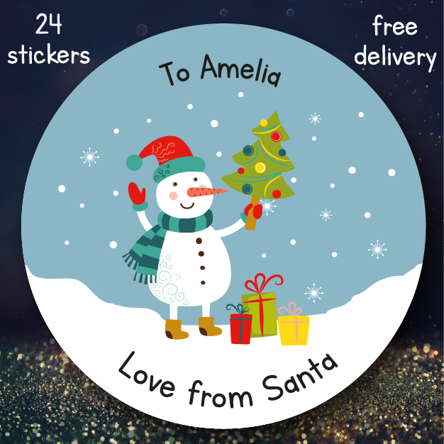 24 personalised christmas stickers ssc13